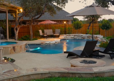 Round Rock Swimming Pool Spa Waterfall Covered Patio 3