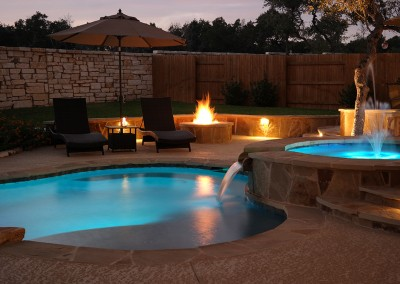 Round Rock Swimming Pool Spa Waterfall Covered Patio 4