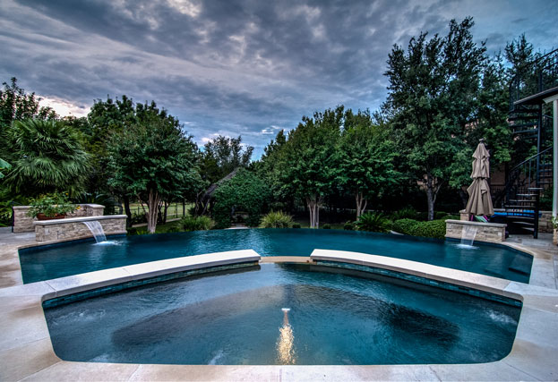 Water features for swimming pools round rock austin - Crystal pools waterfall ...