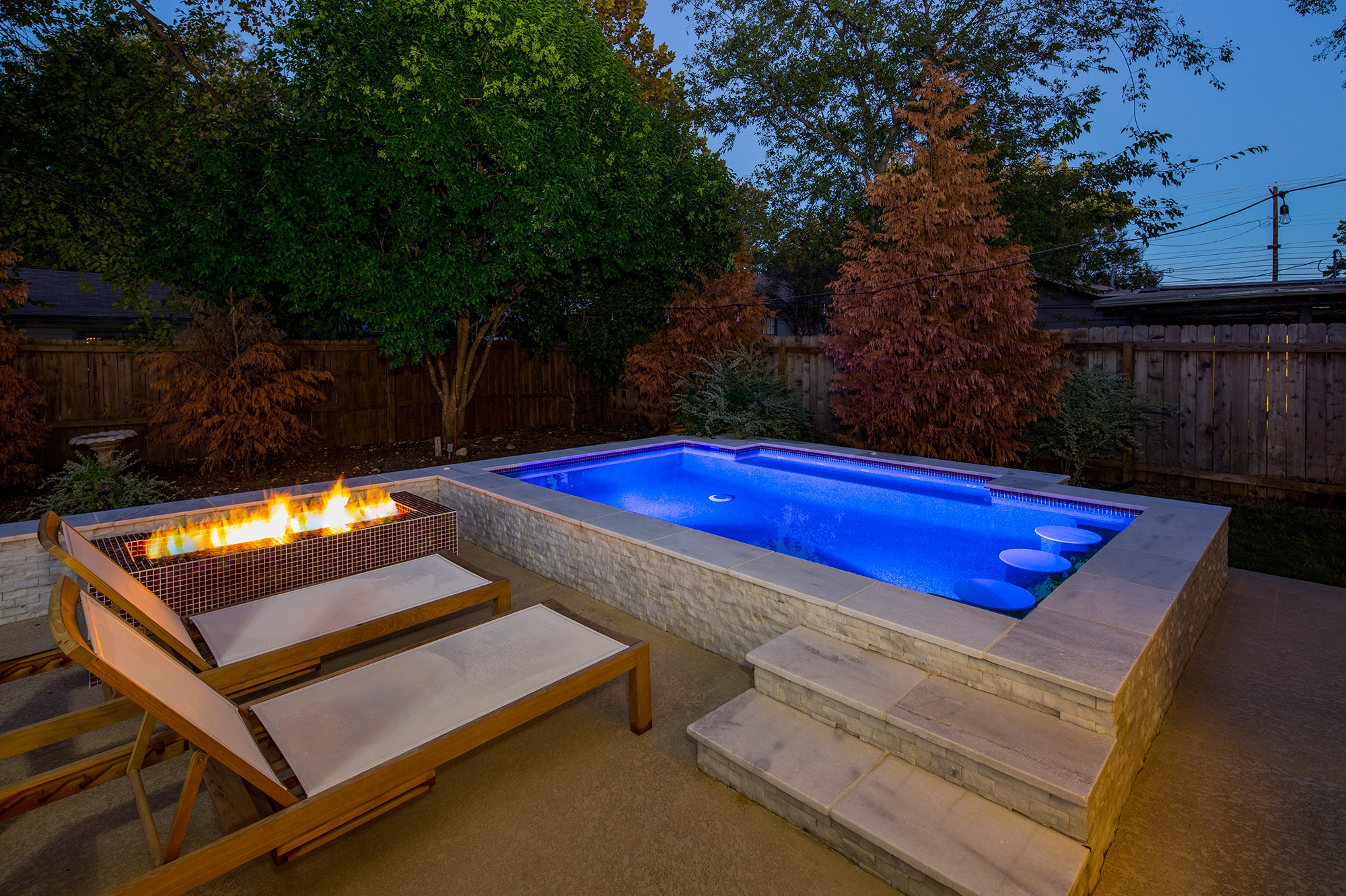 3 downtown austin swim spa and firepit reliant pools for Spa swimming pool